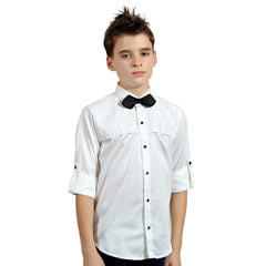 White Designer Satin Shirt with Black Bow tie - KRAZYLA