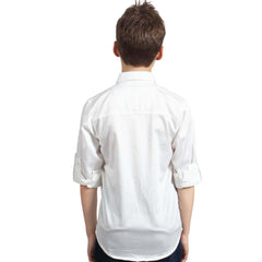 White Designer Satin Shirt with Black Bow tie