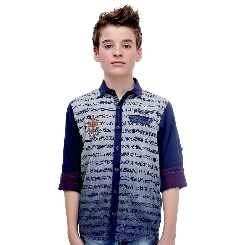MashUp Ombre Print Denim Shirt - mashup boys