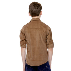 MashUp Brown Cotton Suede Shirt - KRAZYLA