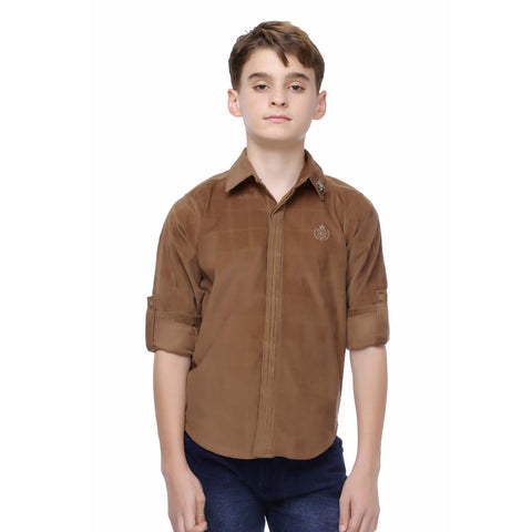 MashUp Brown Cotton Suede Shirt - mashup boys