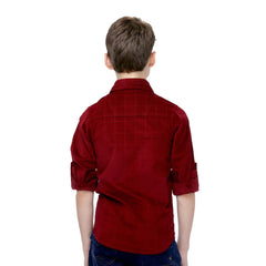 MashUp Maroon Cotton Suede Shirt - KRAZYLA