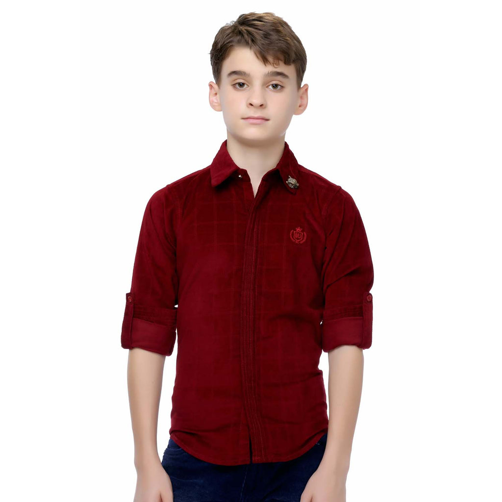 MashUp Maroon Cotton Suede Shirt - mashup boys