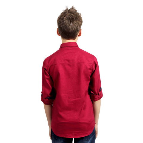 MashUp Maroon Formal Shirt with Printed Tie - KRAZYLA