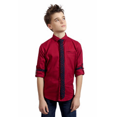 MashUp Maroon Formal Shirt with Printed Tie - mashup boys