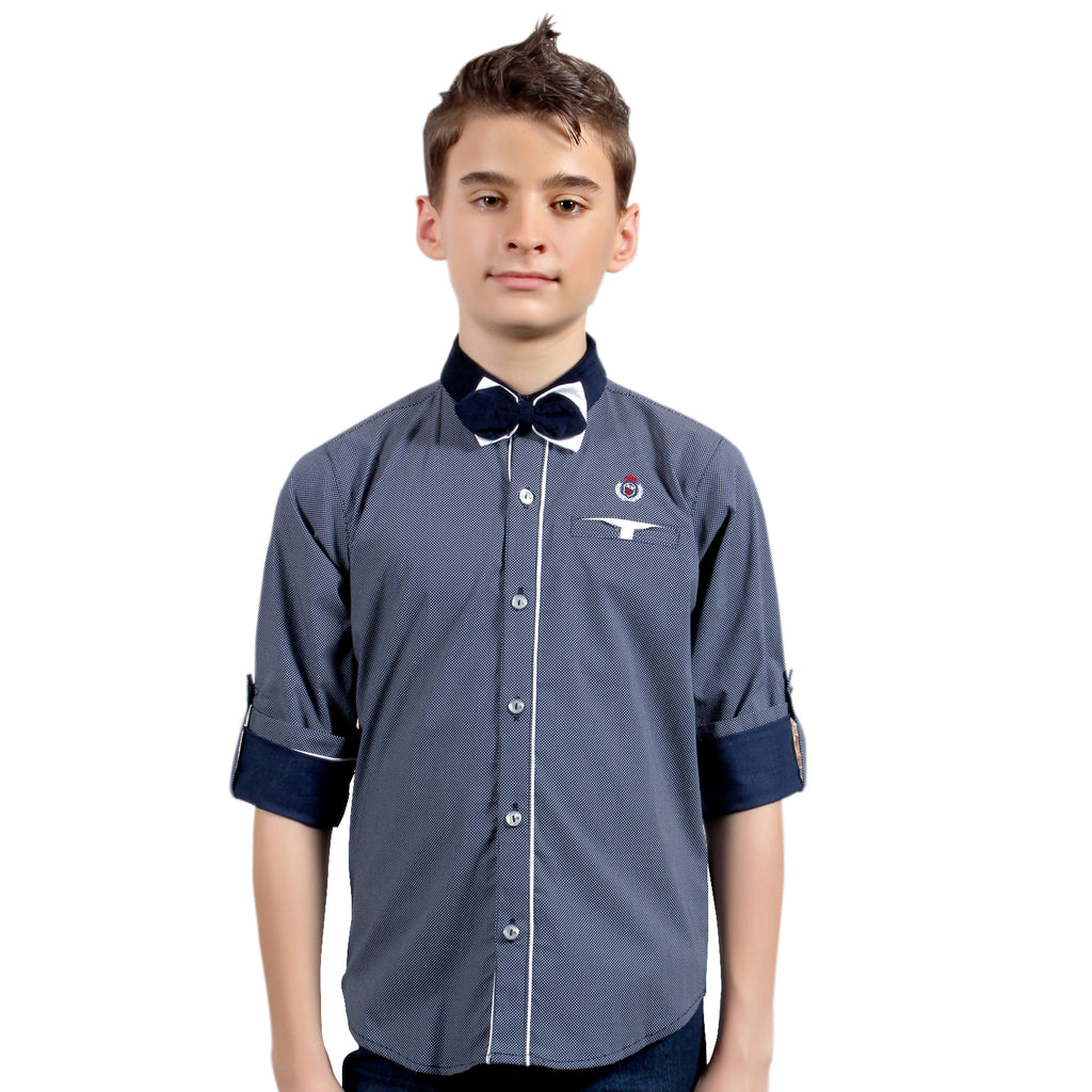 MashUp Half-tone Navy-Blue Print Shirt with Bowtie - mashup boys