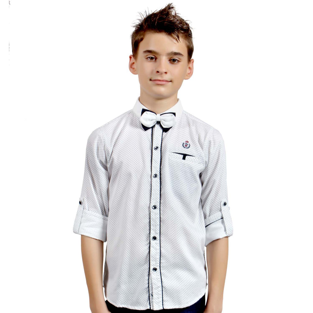 MashUp Half-tone Print White Shirt with Bowtie - mashup boys