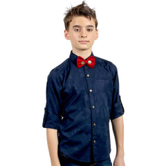 Blue Jacquard Shirt with Designer Bowtie - KRAZYLA