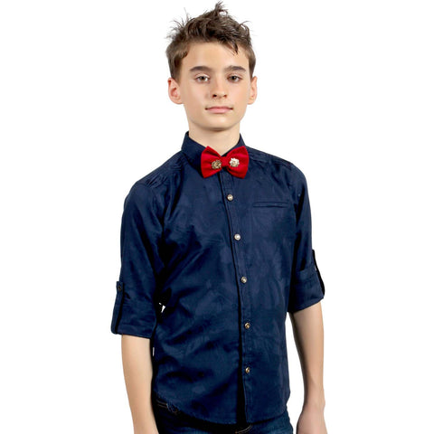 Blue Jacquard Shirt with Designer Bowtie - mashup boys
