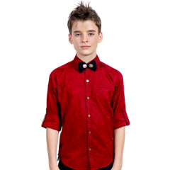 Red Jacquard Shirt with Designer Bowtie