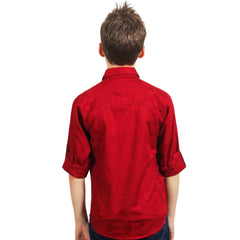 Red Jacquard Shirt with Designer Bowtie - KRAZYLA