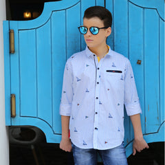MashUp Blue Stripes Casual Shirt - KRAZYLA