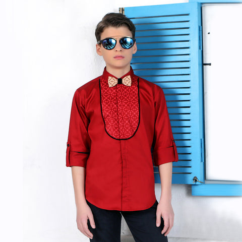 Mashup Splicing Collar Long sleeve Party Shirt - mashup boys