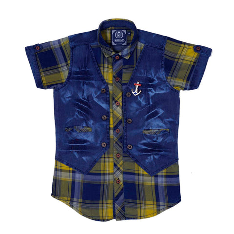 Mashup Denim & Checks Casual Shirt - mashup boys