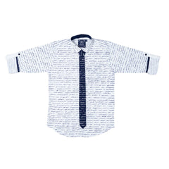MashUp Letter-Print Party Shirt with Tie - KRAZYLA
