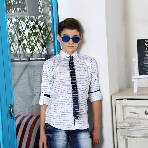 MashUp Letter-Print Party Shirt with Tie - mashup boys