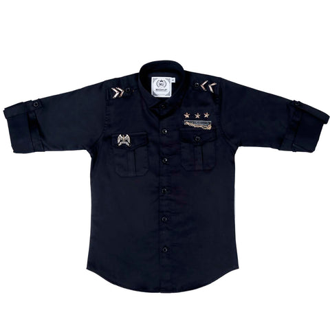 MashUp Black Military inspired shirt - mashup boys