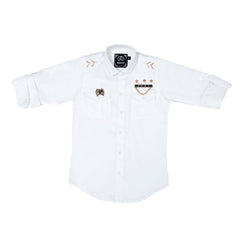 MashUp White Military inspired shirt - KRAZYLA