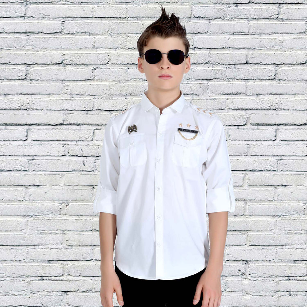 MashUp White Military inspired shirt - mashup boys