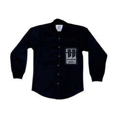 MashUp Black Baseball Collar Dress Shirt - KRAZYLA