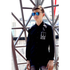 MashUp Black Baseball Collar Dress Shirt - mashup boys