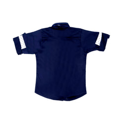 Mashup Navy Blue Solid Party Shirt- - KRAZYLA