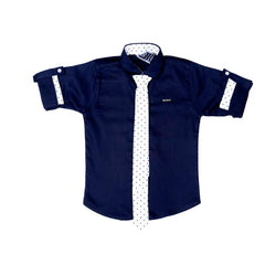 Mashup Navy Blue Solid Party Shirt- - mashup boys