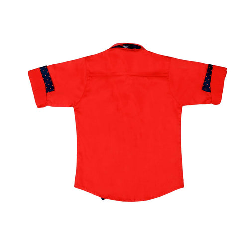 Mashup Red Solid Party Shirt - KRAZYLA