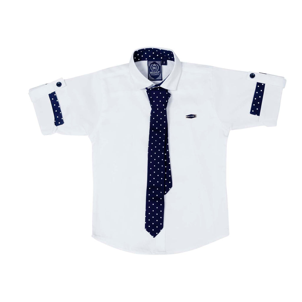 Mashup White Solid Party Shirt - mashup boys