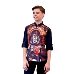 MASHUP LION MILITIA PRINTED SHIRT                                                                   - mashup boys