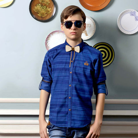 MashUp Striped Blue Shirt - KRAZYLA