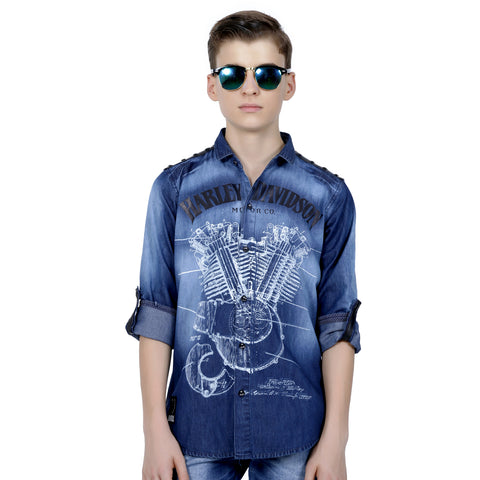 MashUp Print Indigo Denim Shirt - mashup boys
