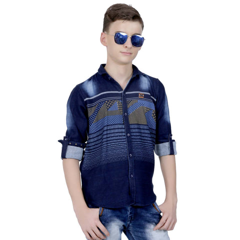 MashUp Casual Blue Denim Shirt - mashup boys
