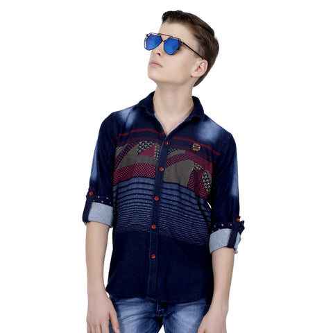MashUp Casual Red Denim Shirt - mashup boys