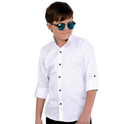 MashUp stylish black self-textured Nehru jacket and polka dot print shirt. - mashup boys
