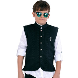 MashUp stylish black self-textured Nehru jacket and polka dot print shirt. - KRAZYLA