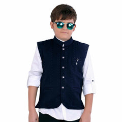 MashUp stylish navy blue self-textured modi jacket and polka dot print shirt. - mashup boys