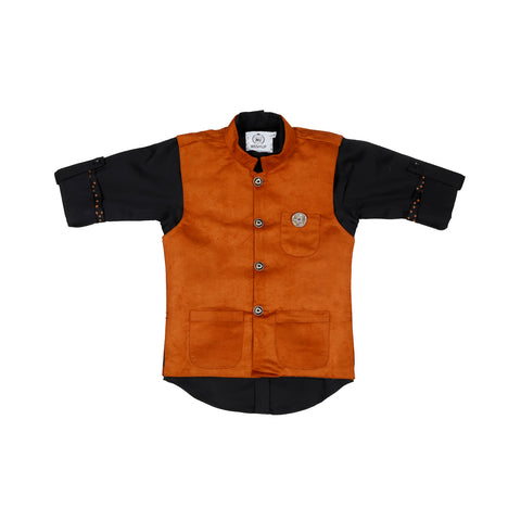 MASHUP BROWN SUEDE modi jacket WITH BLACK SHIRT - mashup boys