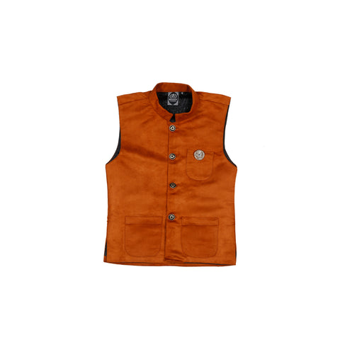 MASHUP BROWN SUEDE modi jacket WITH BLACK SHIRT - KRAZYLA