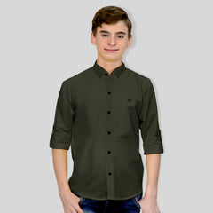 MashUp Classic Olive Green Shirt for Young boys