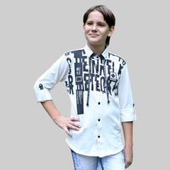 MashUp Fashionable  and comfortable white knitted cotton shirt