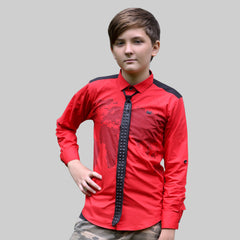 MashUp Stylish and casual red cotton satin shirt and leather tie