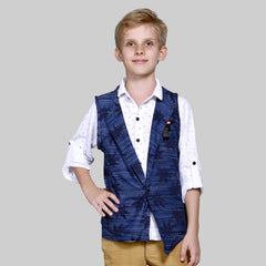 MashUp Fashionable cotton knit shrug/waistcoat and superior cotton shirt