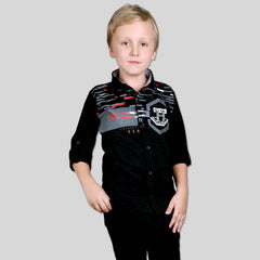 MashUp Black Classic Printed satin Shirt for Young boys