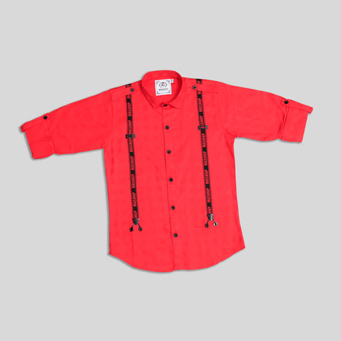 MashUp stylish red cotton Shirt for Young boys