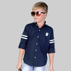 MashUp Elegant casual sporty wear comfortable navy cotton dobby shirt