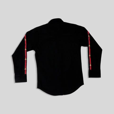 MashUp Elegant tapered funky black cotton stretch lycra shirt