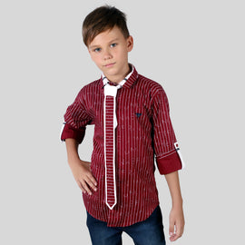 MashUp Stylish Printed Shirt & Tie for Young boys