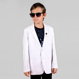 STYLISH AND CASUAL WHITE COTTON BLAZER & T-SHIRT FOR YOUNG BOYS