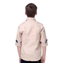 MashUp Vintage Beige Self Design Cotton Shirt - KRAZYLA
